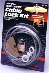 Cable & Lock Kit Covercraft 8' coated steel cable w/brass lock ZCBL